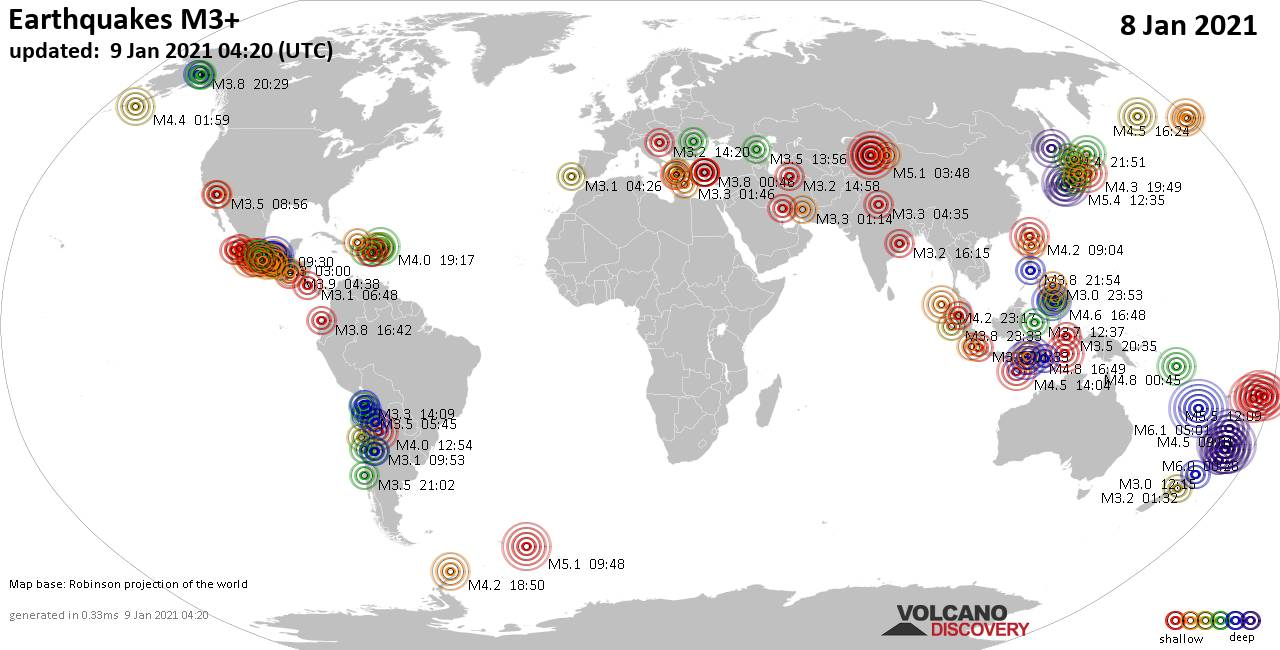 Worldwide earthquakes above magnitude 3 during the past 24 hours on  9 Jan 2021