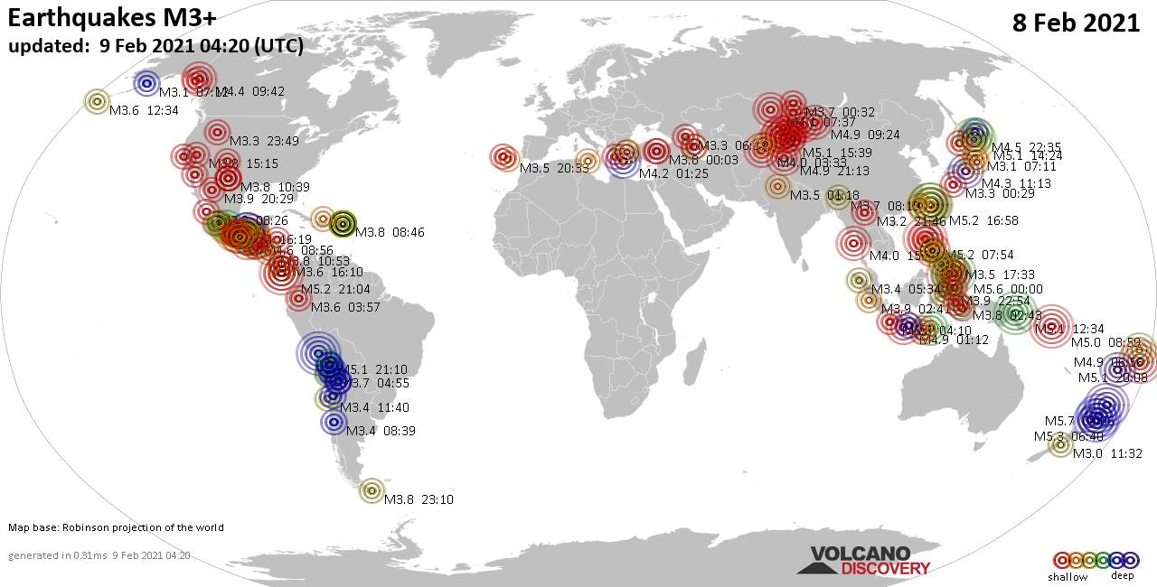 Worldwide earthquakes above magnitude 3 during the past 24 hours on  9 Feb 2021