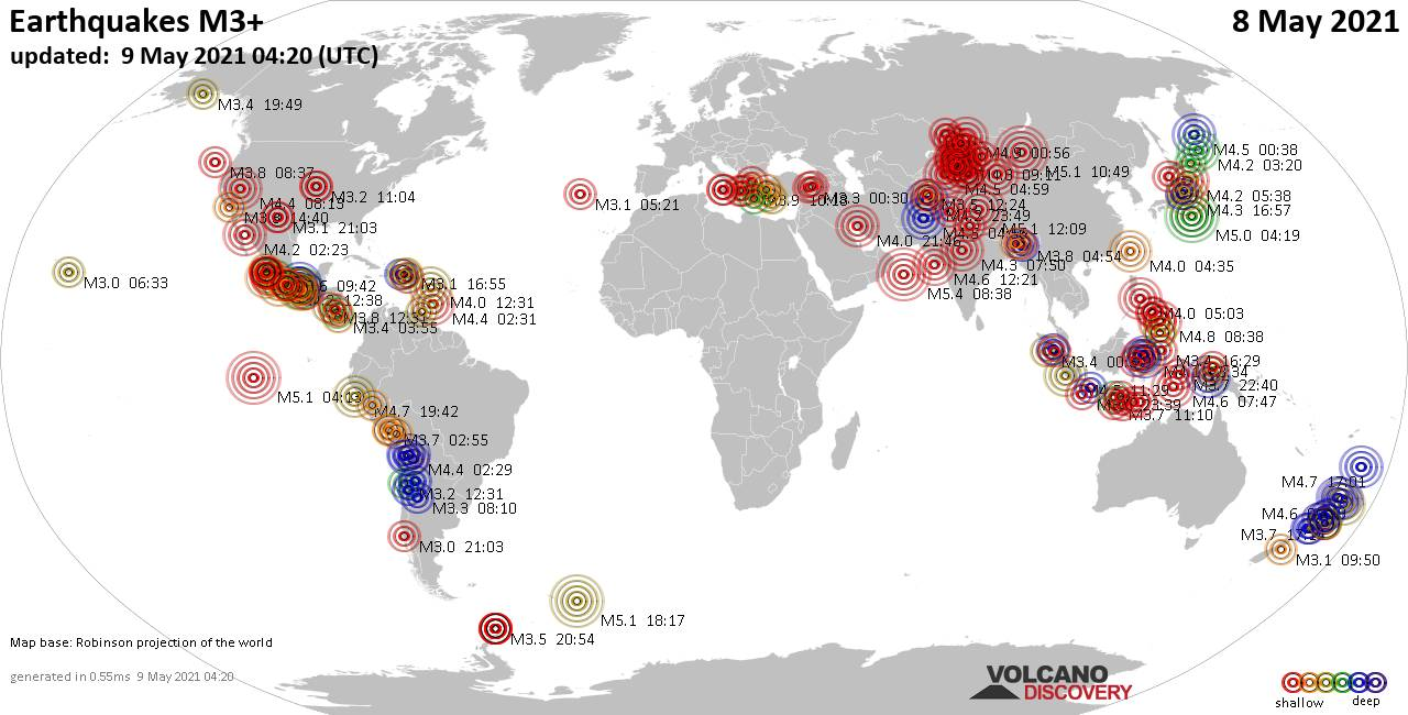 Worldwide earthquakes above magnitude 3 during the past 24 hours on  9 May 2021