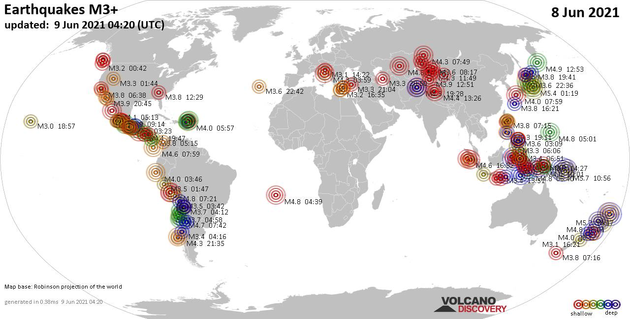 Weltkarte mit Erdbeben über Magnitude 3 während den letzten 24 Stunden past 24 hours am  9. Juni 2021