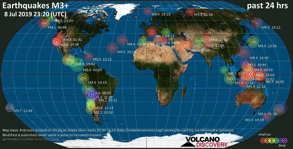 Weltkarte mit Erdbeben über Magnitude 3 während den letzten 24 Stunden past 24 hours am  8. Juli 2019