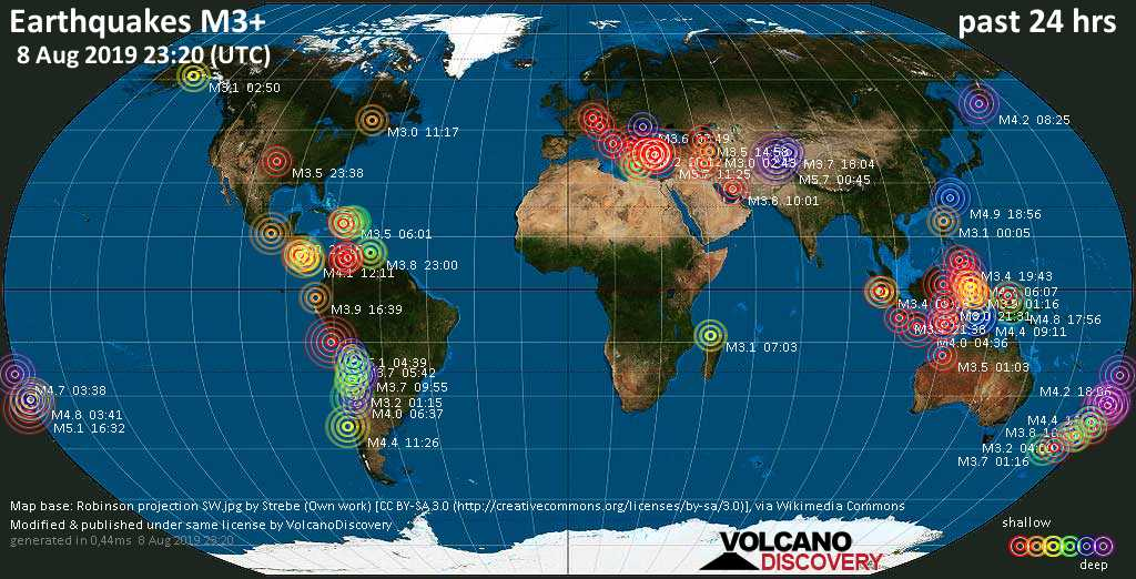World map showing earthquakes above magnitude 3 during the past 24 hours on  8 Aug 2019