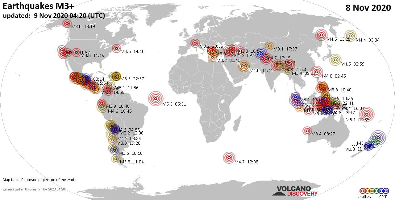 Worldwide earthquakes above magnitude 3 during the past 24 hours on  9 Nov 2020