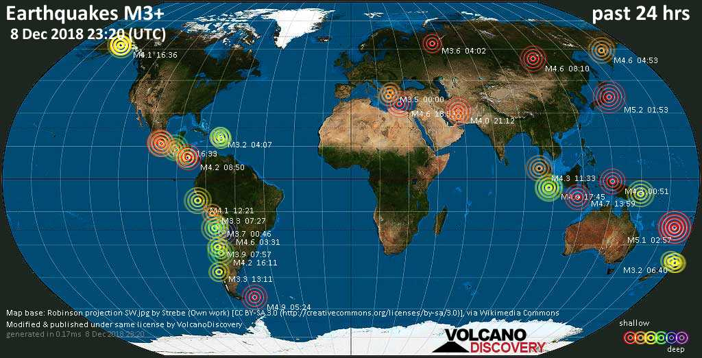 World map showing earthquakes above magnitude 3 during the past 24 hours on  8 Dec 2018