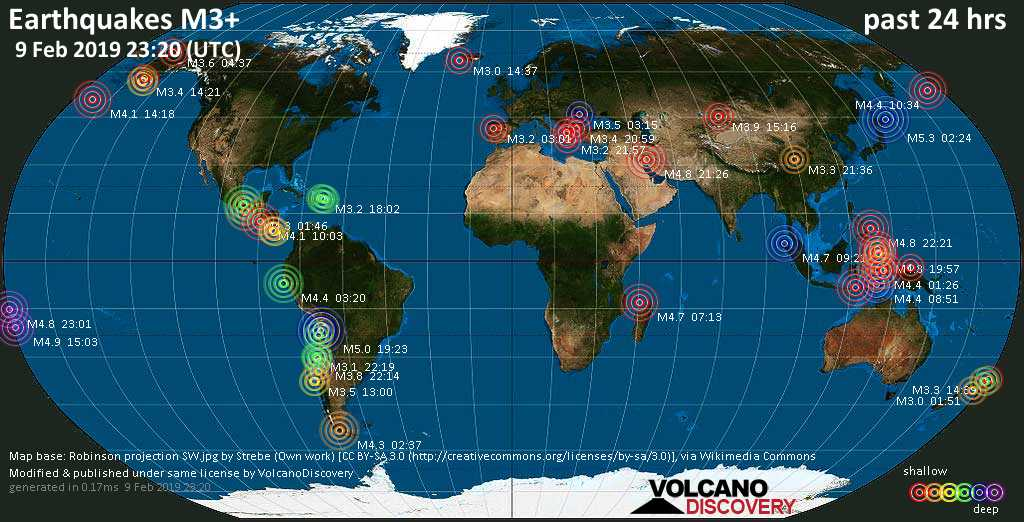 World map showing earthquakes above magnitude 3 during the past 24 hours on  9 Feb 2019