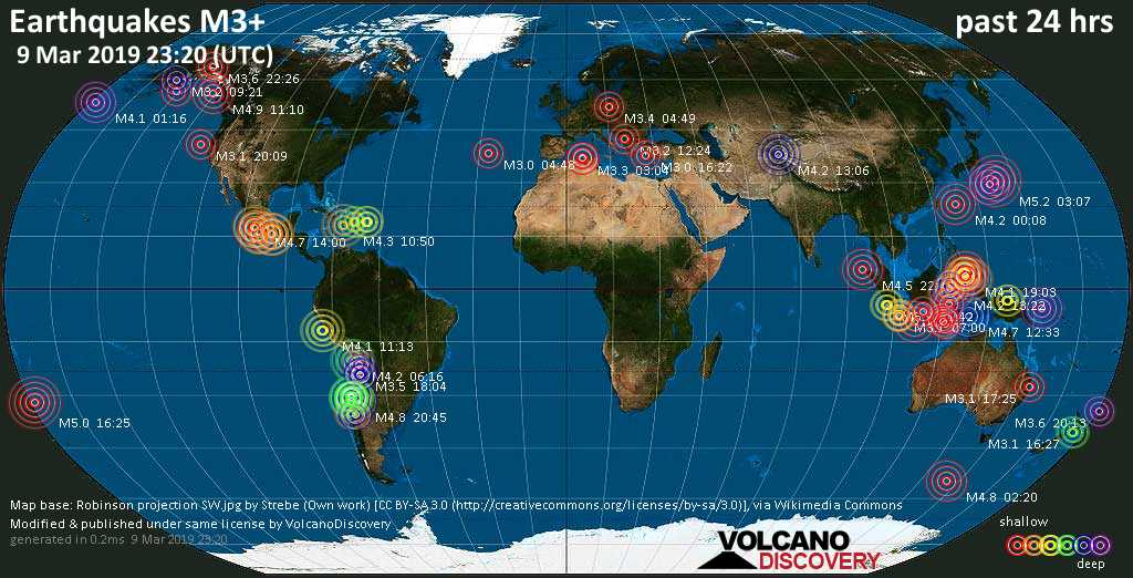 World map showing earthquakes above magnitude 3 during the past 24 hours on  9 Mar 2019