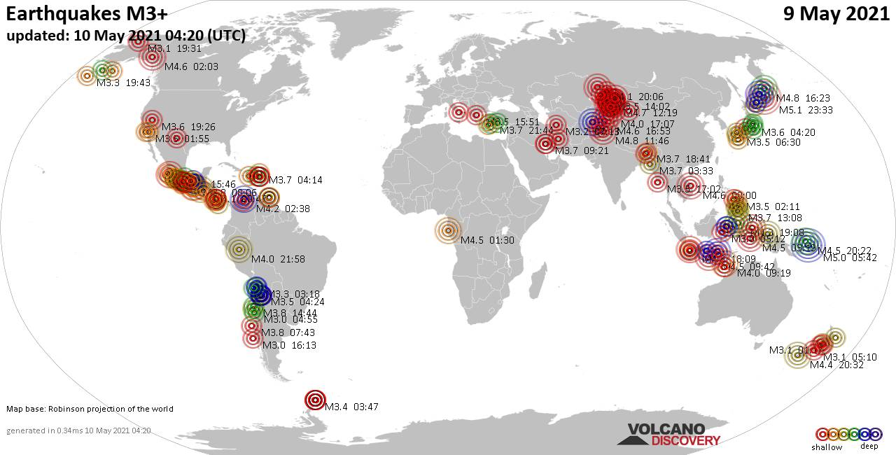 Worldwide earthquakes above magnitude 3 during the past 24 hours on 10 May 2021