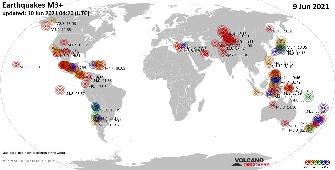 Worldwide earthquakes above magnitude 3 during the past 24 hours on 10 Jun 2021
