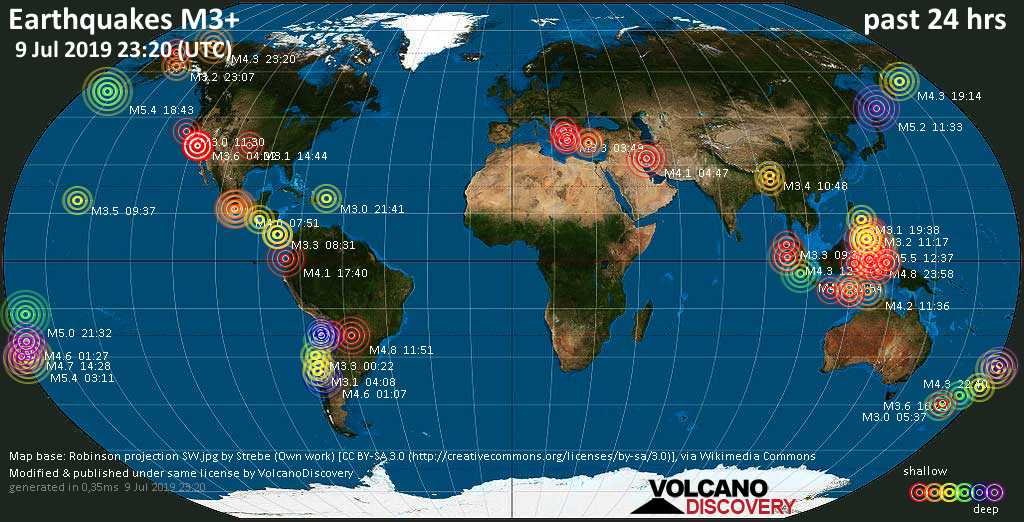 World map showing earthquakes above magnitude 3 during the past 24 hours on  9 Jul 2019