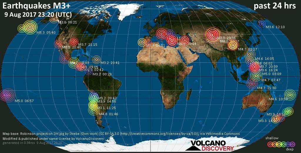 World map showing earthquakes above magnitude 3 during the past 24 hours on  9 Aug 2017