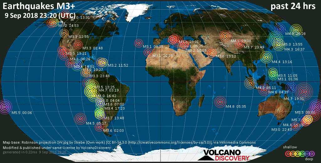 World map showing earthquakes above magnitude 3 during the past 24 hours on  9 Sep 2018
