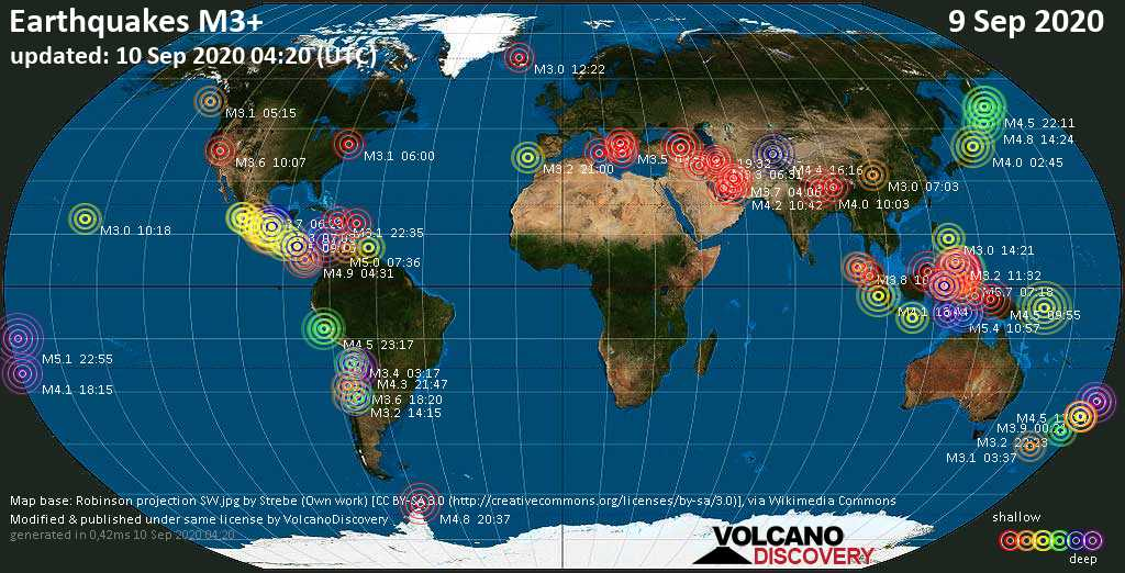 Worldwide earthquakes above magnitude 3 during the past 24 hours on 10 Sep 2020