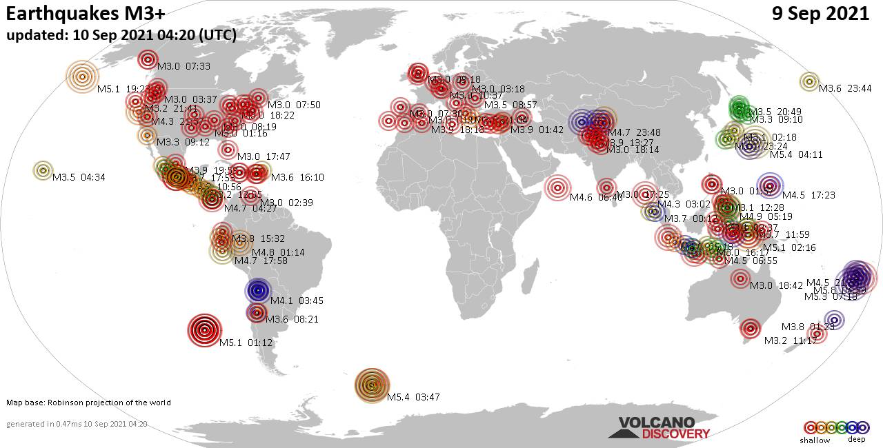 Worldwide earthquakes above magnitude 3 during the past 24 hours on 10 Sep 2021