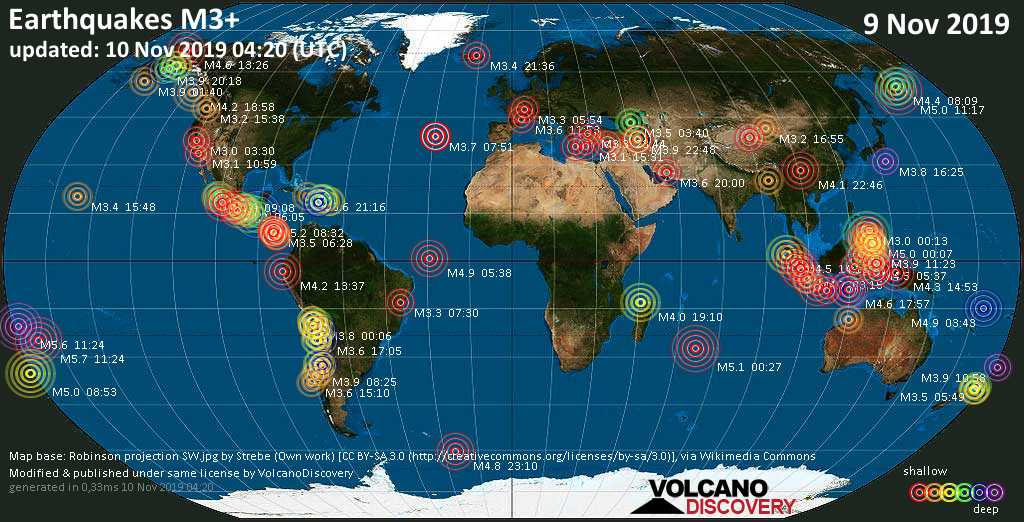 World map showing earthquakes above magnitude 3 during the past 24 hours on 10 Nov 2019