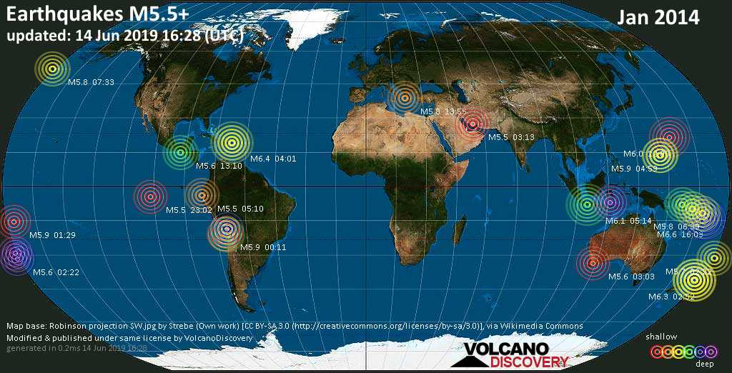 World map showing earthquakes above magnitude 5.5 during January 2014