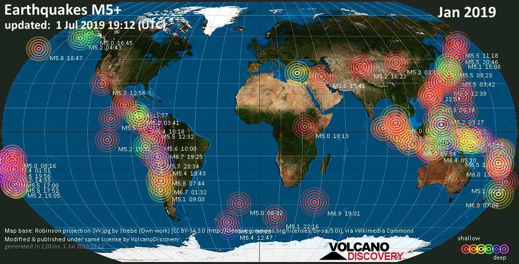 World map showing earthquakes above magnitude 5 during January 2019