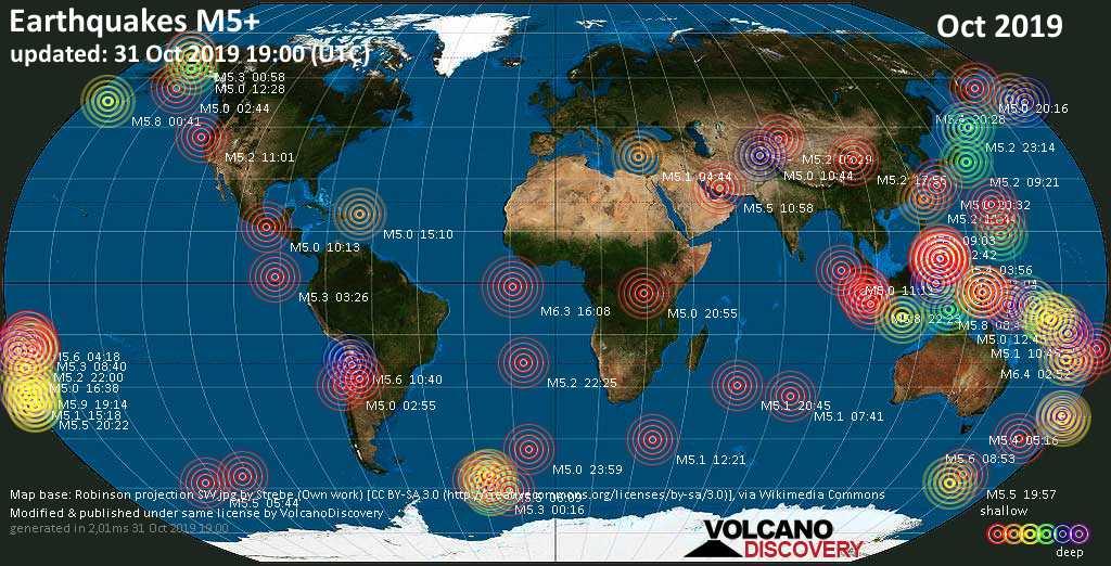 Mapa mundial que muestra terremotos de magnitud 3 en octubre 2019