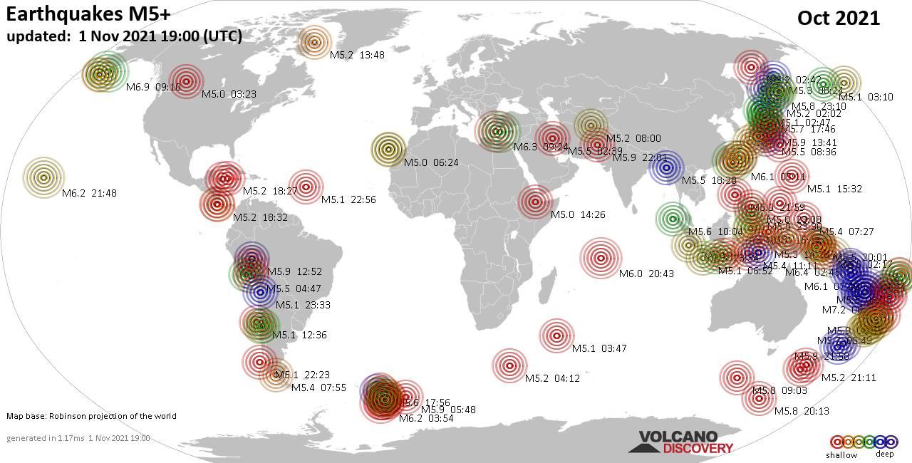 Mapa mundial que muestra terremotos de magnitud 3 en octubre 2021