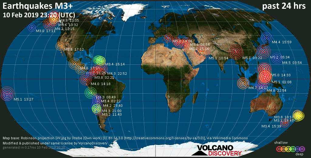 World map showing earthquakes above magnitude 3 during the past 24 hours on 10 Feb 2019