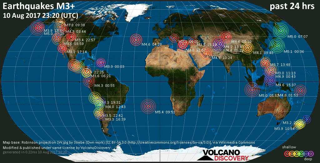 World map showing earthquakes above magnitude 3 during the past 24 hours on 10 Aug 2017