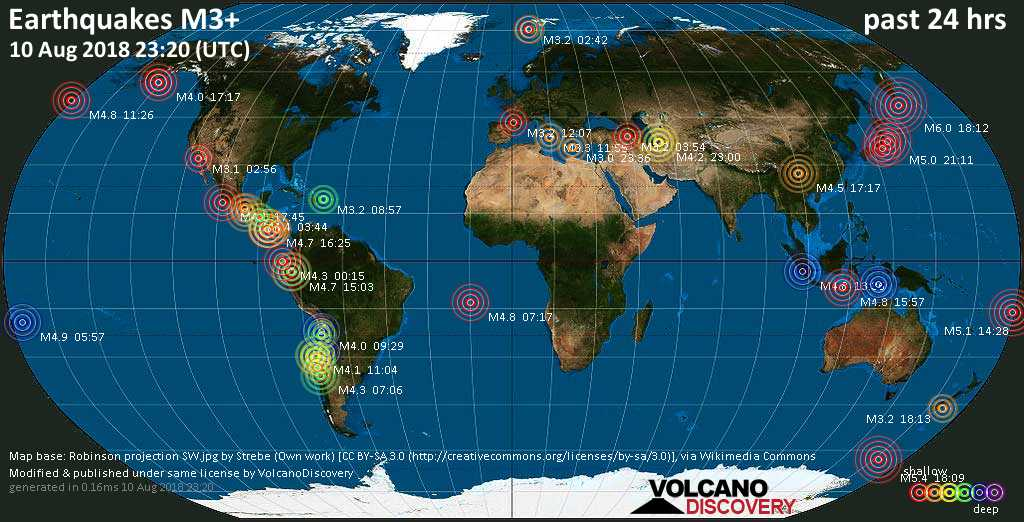 World map showing earthquakes above magnitude 3 during the past 24 hours on 10 Aug 2018