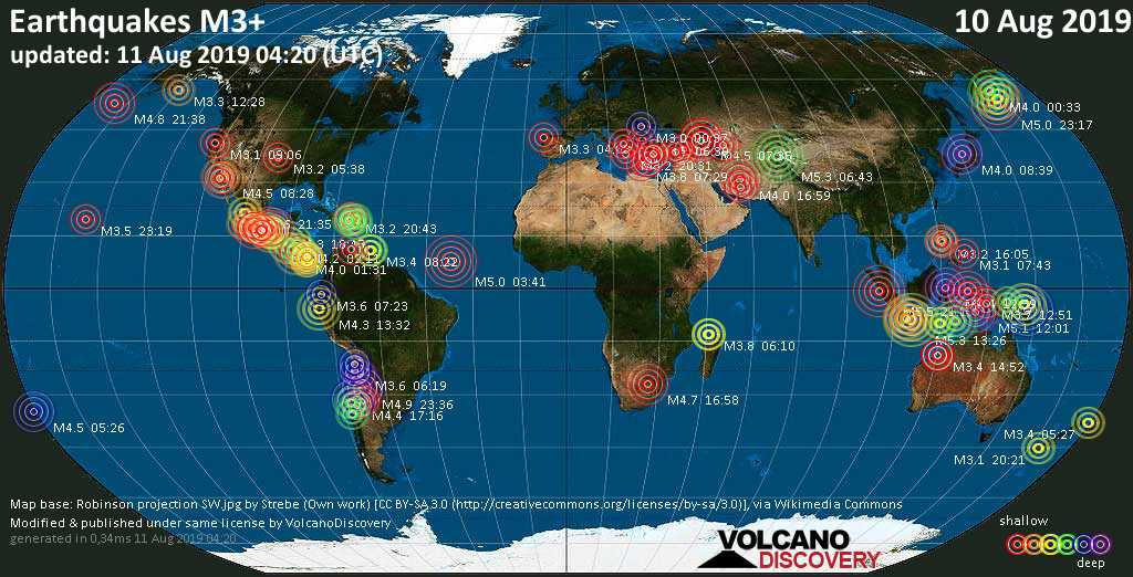 World map showing earthquakes above magnitude 3 during the past 24 hours on 10 Aug 2019