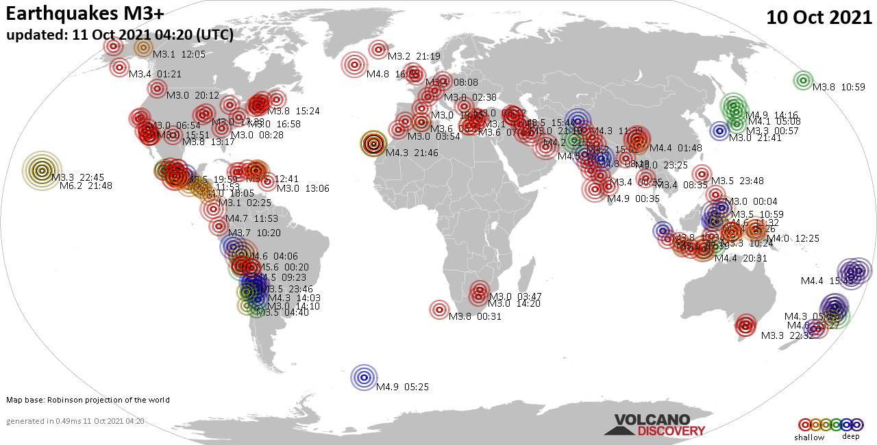 Worldwide earthquakes above magnitude 3 during the past 24 hours on 10 Oct 2021