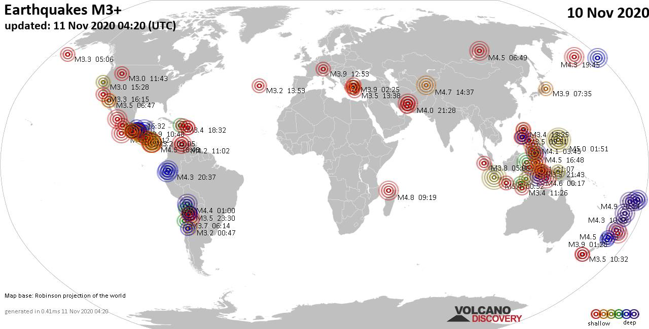 Worldwide earthquakes above magnitude 3 during the past 24 hours on 11 Nov 2020