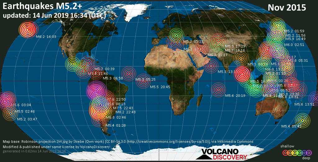 World map showing earthquakes above magnitude 5.2 during November 2015