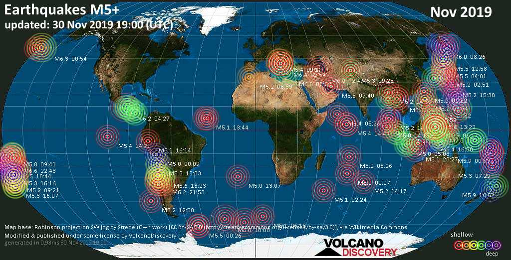 World map showing earthquakes above magnitude 5 during November 2019
