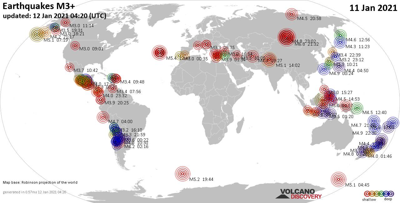 Worldwide earthquakes above magnitude 3 during the past 24 hours on 12 Jan 2021