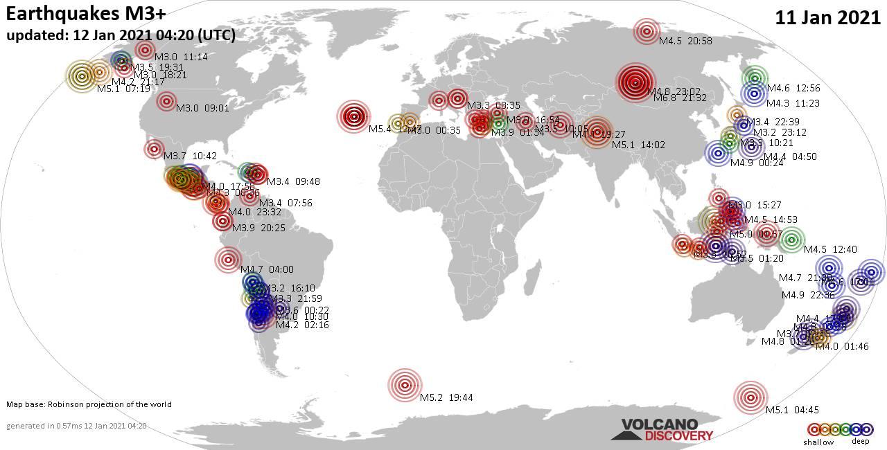 Mappa del mondo che mostra i terremoti sopra la magnitudo 3 nelle ultime 24 ore il 12 gennaio 2021