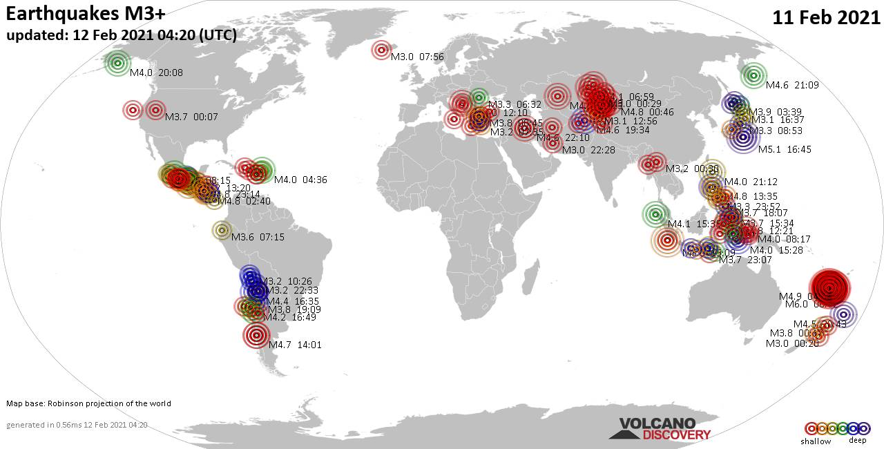 Worldwide earthquakes above magnitude 3 during the past 24 hours on 12 Feb 2021