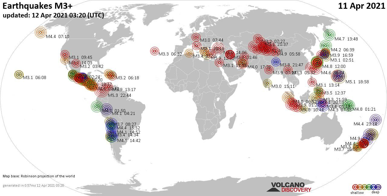 Worldwide earthquakes above magnitude 3 during the past 24 hours on 11 Apr 2021