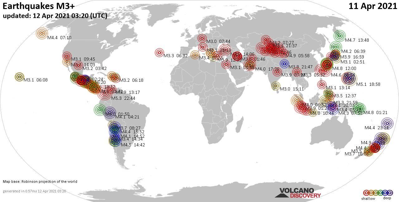 Weltkarte mit Erdbeben über Magnitude 3 während den letzten 24 Stunden past 24 hours am 11. April 2021