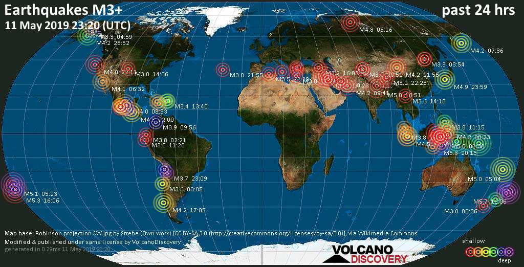 World map showing earthquakes above magnitude 3 during the past 24 hours on 11 May 2019