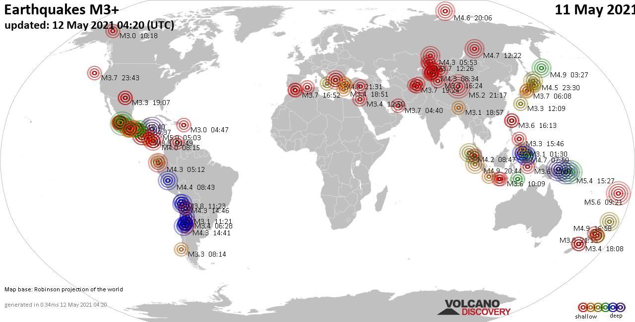 Weltkarte mit Erdbeben über Magnitude 3 während den letzten 24 Stunden past 24 hours am 11. Mai 2021