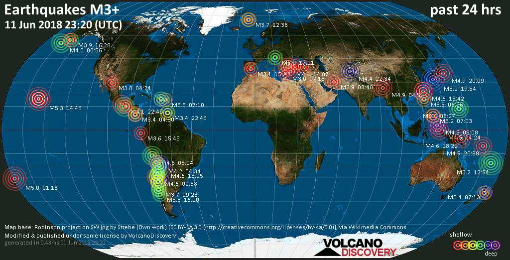 World map showing earthquakes above magnitude 3 during the past 24 hours on 11 Jun 2018
