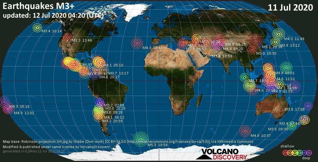 World map showing earthquakes above magnitude 3 during the past 24 hours on 12 Jul 2020
