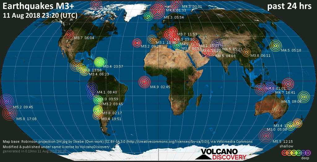 World map showing earthquakes above magnitude 3 during the past 24 hours on 11 Aug 2018