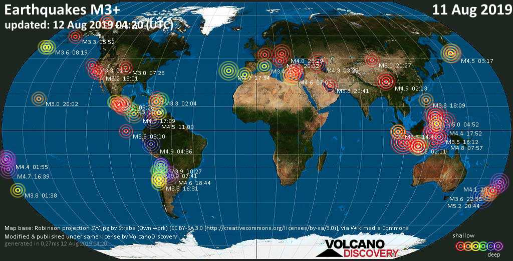 World map showing earthquakes above magnitude 3 during the past 24 hours on 12 Aug 2019