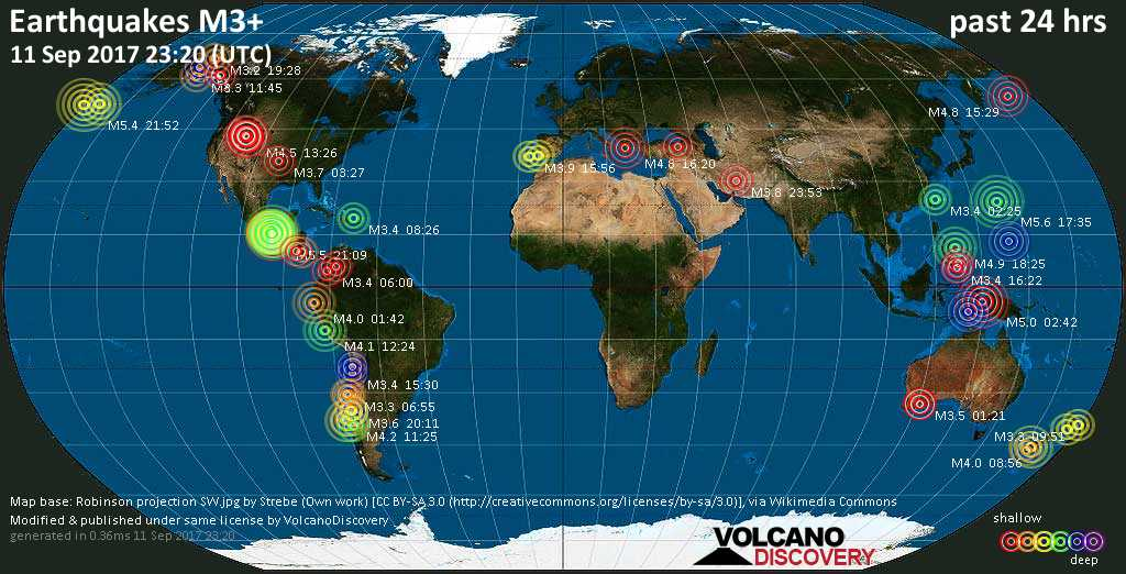 World map showing earthquakes above magnitude 3 during the past 24 hours on 11 Sep 2017
