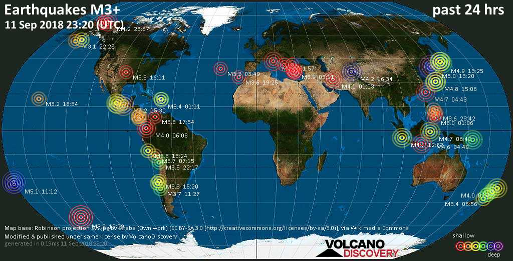 World map showing earthquakes above magnitude 3 during the past 24 hours on 11 Sep 2018