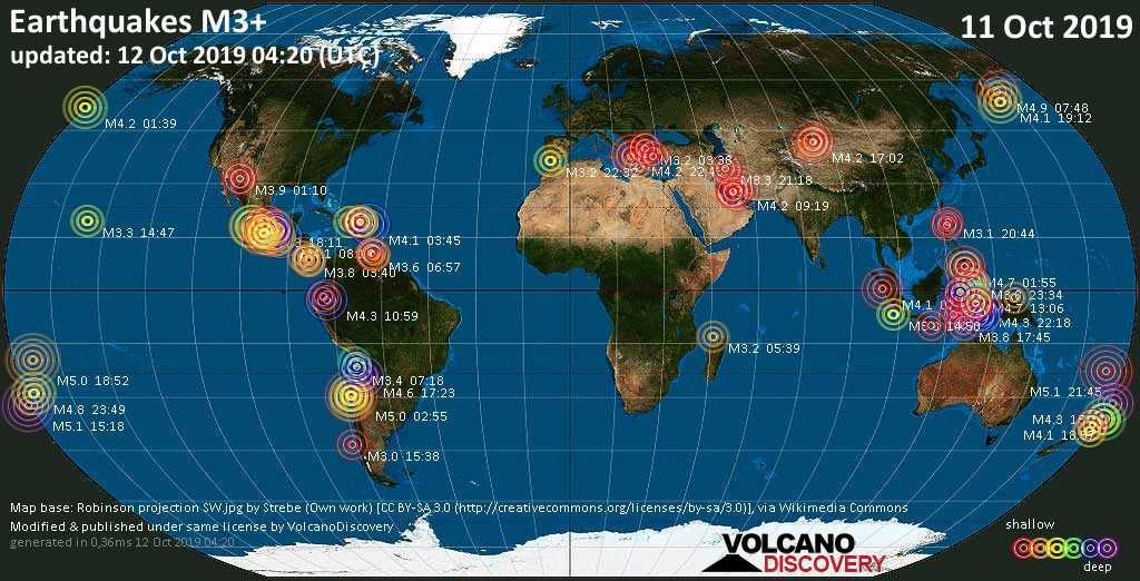 Mapa mundial que muestra terremotos de magnitud 3 en las últimas 24 horas 12 octubre 2019