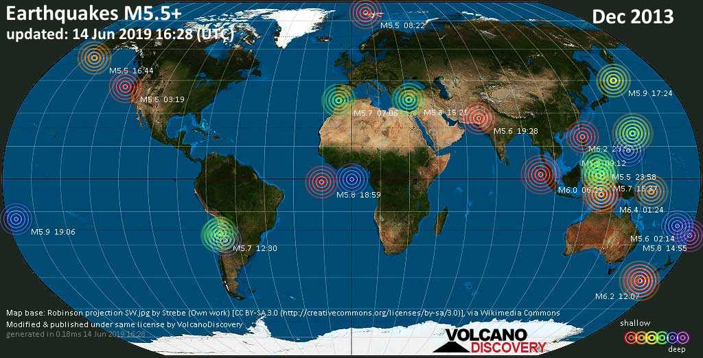 World map showing earthquakes above magnitude 5.5 during December 2013