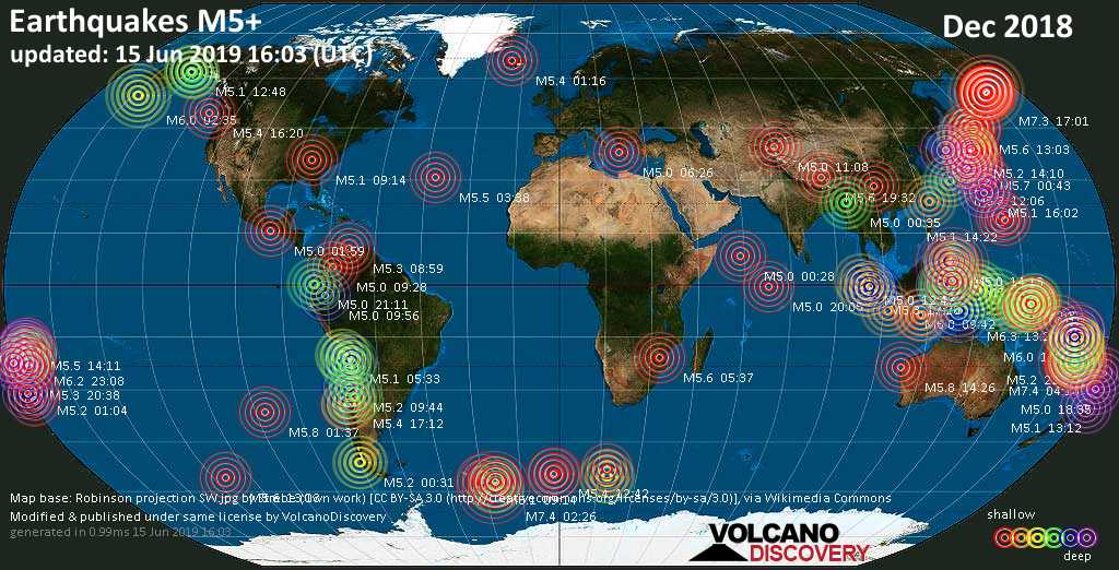 World map showing earthquakes above magnitude 5 during December 2018