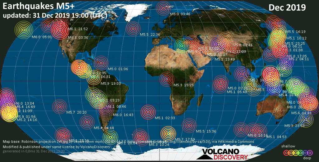 World map showing earthquakes above magnitude 5 during December 2019