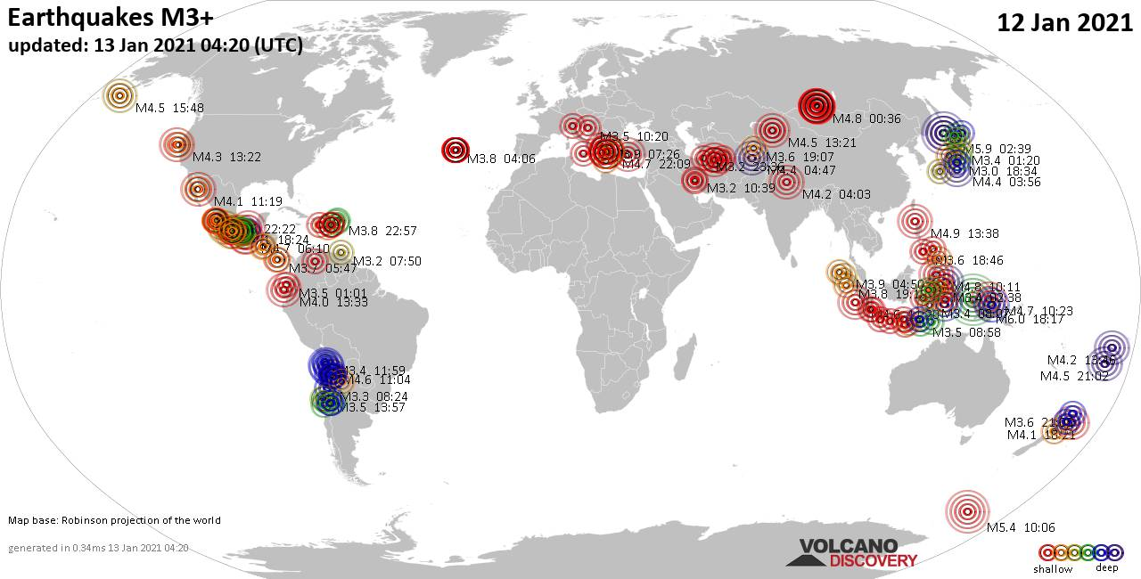 Worldwide earthquakes above magnitude 3 during the past 24 hours on 13 Jan 2021