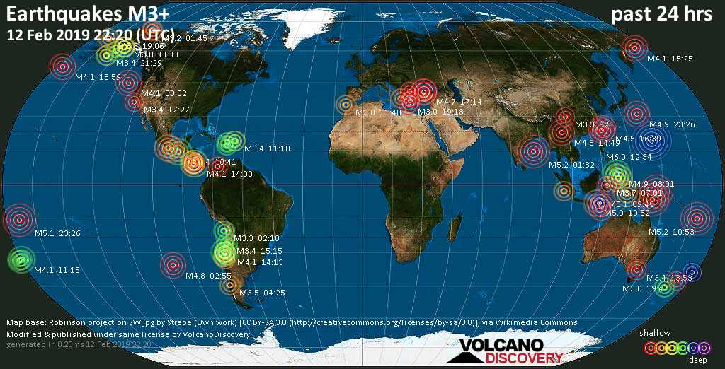 World map showing earthquakes above magnitude 3 during the past 24 hours on 12 Feb 2019