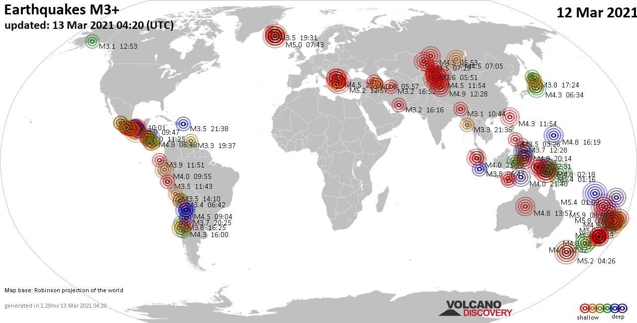 Mappa del mondo che mostra i terremoti sopra la magnitudo 3 nelle ultime 24 ore il 13 marzo 2021